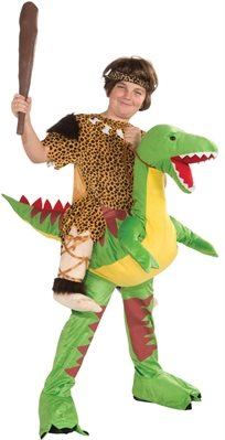 האדם הקדמון רוכב על דינוזאור