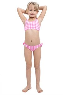 סט ביקיני משבצות לילדות Pilpel בצבע ורוד
