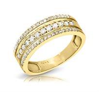 טבעת מעוצבת זהב 14K משובצת יהלומים במשקל כולל של 0.44 נקודות