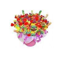פינוקים ועינוגים - זר מתוק ורומנטי המורכב משיפודי סוכריות גומי בתוך כלי חרס מרהיב בצבעוניותו