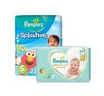 מארז 4 חבילות חיתולים Pampers Premium וחבילת Pampers Splashers במגוון מידות לבחירה