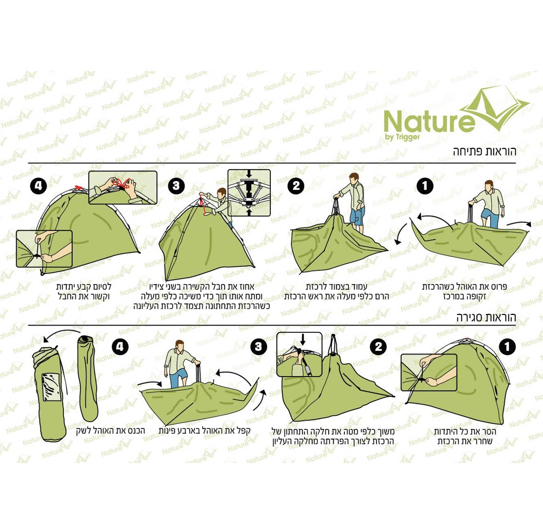 אוהל פתיחה מהירה NATURE לעד 4 אנשים דגם TR134 - משלוח חינם - תמונה 2