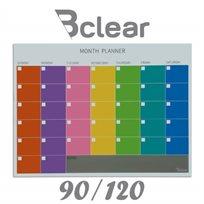 """לוח מחיק זכוכית מגנטי תכנון חודשי 90X120 ס""""מ צבעוני"""