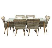 מערכת ישיבה לגינה או למרפסת הכוללת שולחן ושישה כסאות דגם סלוניקי