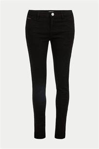 מכנסי ג'ינס גזרת סלים MORGAN עם עיטור בכיס - שחור
