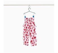 מכנס פרחוני עם וולן בצדדים לילדות בצבע לבן אדום