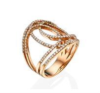 טבעת יוקרתית ומעוצבת משובצת יהלומים במשקל כולל של 0.68 נקודות