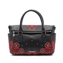 Desigual Bols Manuela Foulard Loverty - תיק יד שחור עם תבליטי פרחים אדומים