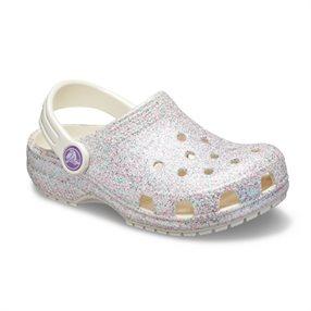 6e2dc8c8d ... Crocs Classic Glitter Clog K - כפכף קלאסי בצבע לבן בעיטור נצנצים ורודים