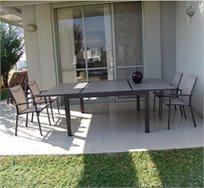 מערכת גן מיוחדת, מרובעת, הכוללת שולחן מרובע עם מנגנון הארכה ו-4 כסאות אלומיניום מבית SCAB