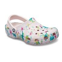Crocs Classic Seasonal Graphic Clog - נעלי קלוג קלאסיות בהדפס קייצי בצבע ורוד עדיןפרחוני