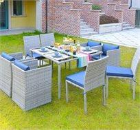 סט ישיבה 9 חלקים QUBE כולל שולחן, 4 כורסאות ו4 כסאות עם כריות HomeTown
