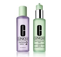 סט טיפוח לעור הפנים הכולל סבון פנים ומי הסרה לעור מעורב-יבש CLINIQUE