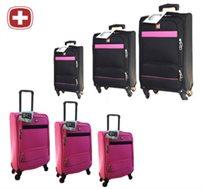 מזוודות קלות משקל עם 4 גלגלים מבית Swiss ב-3 גדלים לבחירה 20\24\28 אינץ' עם בד כפול, עמיד וחזק
