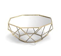 שולחן סלון בגימור נחושת סדרת שברון ביתילי משלב מתכת עם זכוכית מראה למראה יחודי