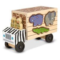 משאית מעץ התאמת צורות חיות