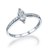 """טבעת יהלומים """"אלזה"""" 0.52 קראט בחיתוך מרקיזה"""