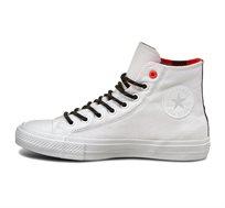 נעלי סניקרס גבוהות יוניסקס - לבן/כתום/שחור