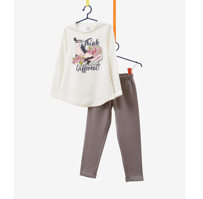 אימונית OVS לילדות - לבן עם הדפס נוצץ ומכנס אפור
