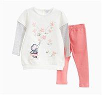 אימונית לתינוקות וילדות בצבע לבן וורוד עם הדפס פילים