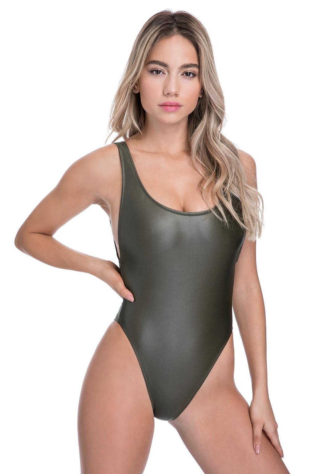 בגד ים שלם בייסיק סקסי - חאקי