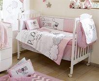 סט מצעים 3 חלקים למיטת תינוק פו הדב בלון ורוד