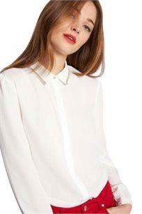 חולצה מכופתרת עם צווארון מעוטר בחרוזים לנשים בצבע לבן
