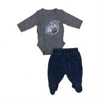 Minene חליפת בגד גוף (24-0 חודשים) - MILK אפור בהיר