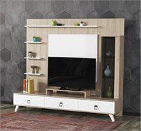 מערכת קיר לסלון הכוללת מזנון מודרני, יחידות אחסון ומדפים לפרטי נוי דגם קלואי HOME DECOR