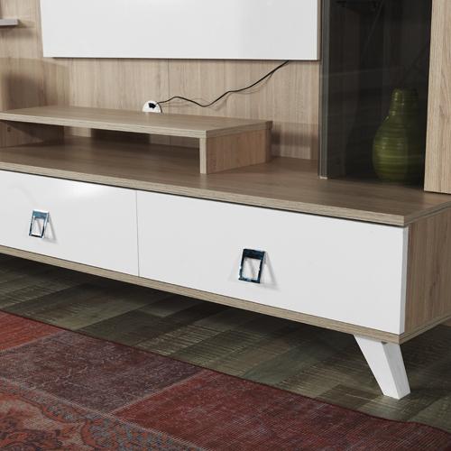 מערכת קיר לסלון הכוללת מזנון מודרני, יחידות אחסון ומדפים לפרטי נוי דגם קלואי HOME DECOR - תמונה 2