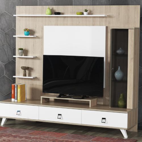 מערכת קיר לסלון הכוללת מזנון מודרני, יחידות אחסון ומדפים לפרטי נוי דגם קלואי HOME DECOR - תמונה 3