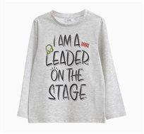חולצת טי ארוכה OVS לילדים - אפור עם הדפס אותיות