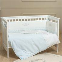 סט מצעי פרימיום 3 חלקים למיטת תינוק 100% כותנה - נסיך כחול