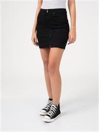חצאית גינס שחורה פרומה בקצה