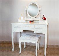 שידת איפור טואלט גדולה במיוחד עם 7 מגירות בעיצוב וינטג׳ , מראת איפור מתכוונת וכסא תואם במתנה!