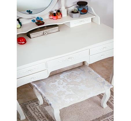 שידת איפור טואלט גדולה במיוחד עם 7 מגירות בעיצוב וינטג׳ , מראת איפור מתכוונת וכסא תואם במתנה! משלוח חינם - תמונה 6
