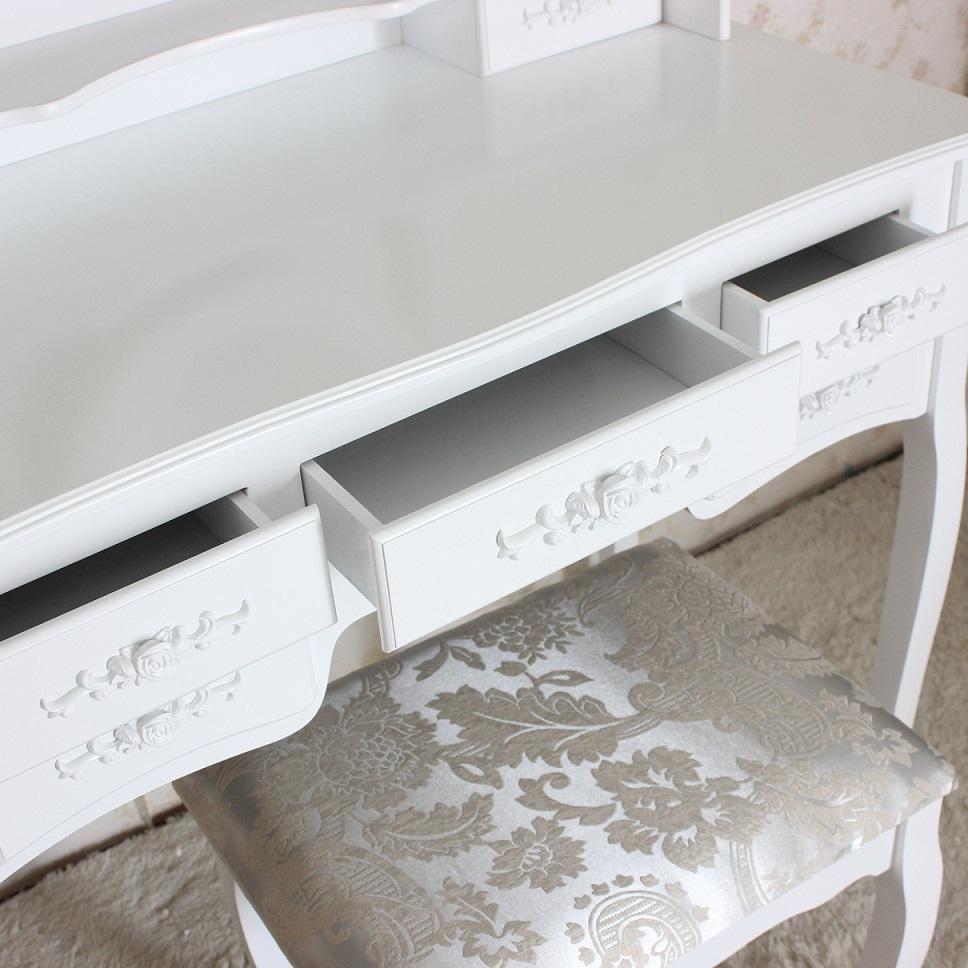 שידת איפור טואלט גדולה במיוחד עם 7 מגירות בעיצוב וינטג׳ , מראת איפור מתכוונת וכסא תואם במתנה! משלוח חינם - תמונה 4