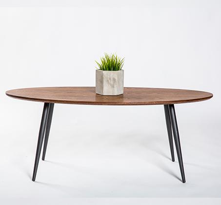שולחן קפה מודרני אליפסה בגוון עץ טבעי