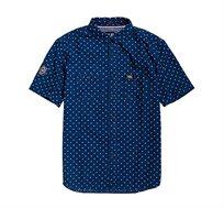 חולצה מכופתרת בהדפס נקודות Superdry Indigo Riveter לגברים בצבע כחול
