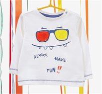 חולצה עם שרוולים ארוכים לפעוטות בצבע לבן/צבעוני עם הדפס