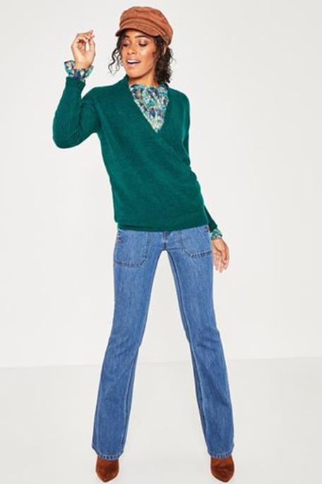 סוודר עם צווארון וי PROMOD לנשים - ירוק בהיר
