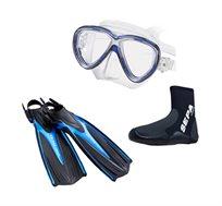 סט צלילה הכולל סנפיר, נעל ומסכת צלילה TUSA - משלוח חינם