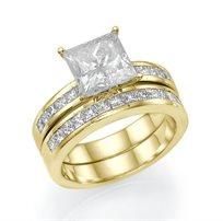 """סט טבעות """"קיסר"""" זהב צהוב 2.08 קראט בשיבוץ יהלומים מרובעים"""
