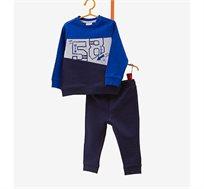 חליפת פוטר OVS לילדים עם הדפס 58 - גווני כחול/אפור