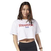 חולצת טי ריבוק לנשים - Training Essentials Linear Crop לבן