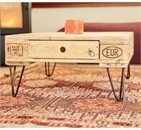 שולחן עם רגלי ברזל ומגירה