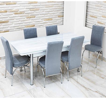 פינת אוכל נפתחת מזכוכית כולל 4 כסאות מרופדים במראה קלאסי