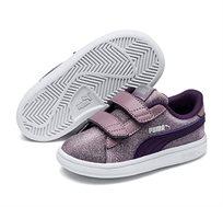 נעלי סניקרס Puma Smash V2 Glitz Glam V Inf לילדות בצבע סגול מנצנץ