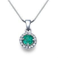 שרשרת יהלומים מזהב עם תליון יהלום אמרלד