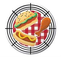 """על האש! 8 צלחות אוכל חד פעמיות קטנות, עשויות קרטון מתכלה, קשיח ואיכותי מדגם """"ברביקיו"""""""